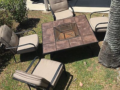Fire Pit table With tiled top, 4 Chairs with Plush Thick Cushions
