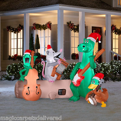 New 6.5 Ft Christmas lighted Inflatable Alligator River Band Banjo Music Lights
