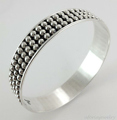 TAXCO VINTAGE STYLE 925 PRESSED BEADS BANGLE BRACELET | Mexico Sterling Silver