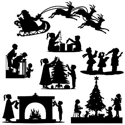 Die cut out Silhouette Christmas, Xmas, Selection set card making, scrapbook