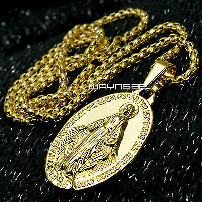 Men Women18k gold  Filled The Virgin Mary Pendant Chain Necklace N320