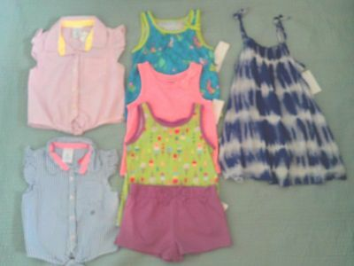 GIRLS TOPS SHIRTS CLOTHING LOT size 2T Tie Dye DRESS Toddler New Shorts
