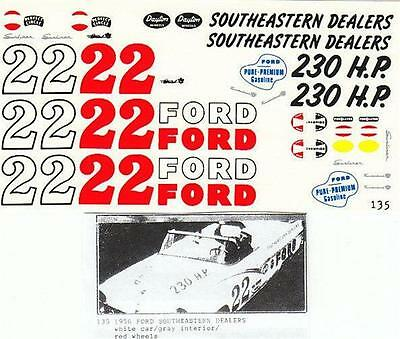 Fred Cady Decal #135 To Do The #22 1956 Ford Southeastern Ford