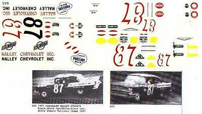 Fred Cady Decal #665 To Do The #87 1957 Buck Baker Nalley Atlanta Chevrolet
