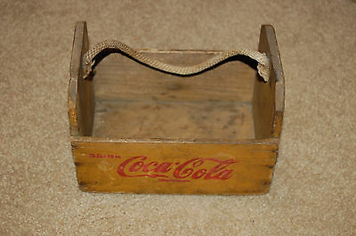 Vintage Coca Cola Wooden Crate with rope handle