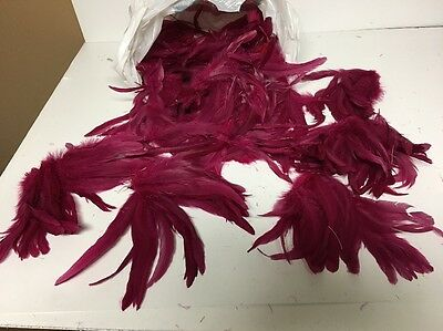 LOT OF VINTAGE FANCY HAT FEATHERS---FOR HATS/MILLINERY--Magenta