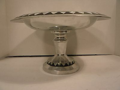Towle SilverSmiths Large Pedestal Bowl w/ Mother of Pearl Inlay