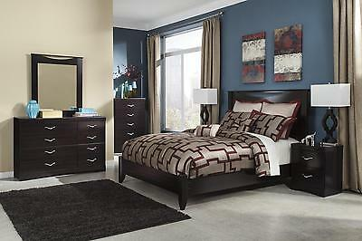 Ashley Zanbury B217 Queen Size Panel Bedroom Set 5pcs in Merlot Contemporary