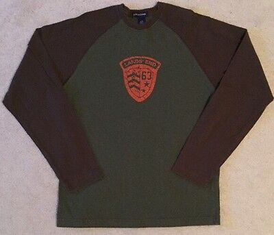 Boys Large 14-16 Lands End Long Sleeve Tee Brown And Green