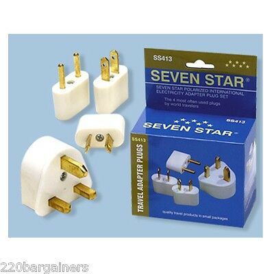 Electric Travel Adapter Plug Kit For Most Countries 4 Different Plug Adaptors