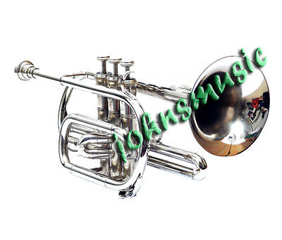 "New Cornet Chrome^finish^bb_Pitch Nice^look""w/case-Mp~ Free Fast Shipping"