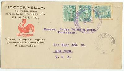 Feb 11 1919 Honduras WWI censored cover to New York - Hector Vella /Burns coffee
