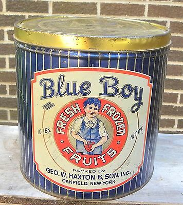Vintage Geo. W. Haxton BLUE BOY Fresh Frozen Fruit Food Advertising Tin Can-Ny