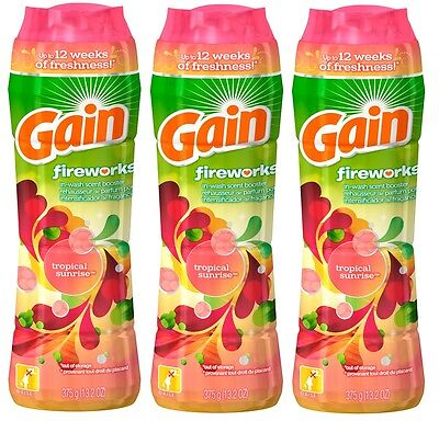 3x Gain Fireworks TROPICAL SUNRISE In-Wash Scent Laundry Booster 13.2 Oz Each !