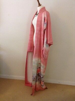 Vintage Pink & Peony Authentic Japanese Kimono Coat Gown Party Silk