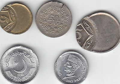 Pakistan Rs 1, & 2015 5 Ruppes Errors Coin Lot # 4 Rare