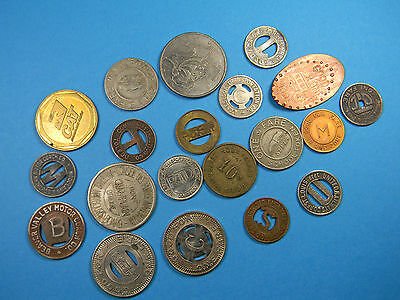 Lot of 20 Transportation Tokens Includes 1919 Railway &  Elongated Penny