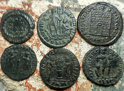 Lot of 6 Ancient Roman Coins, All Obvious to ID....Largest 21 mm