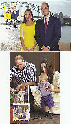 Australia 2014 Royal Visit William/kate Very Fine Set Of Two F.d.i. Maxicards