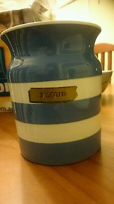 T. G. GREEN BLUE &WHITE CORNISHWARE Flour canister vintage Collectable Large