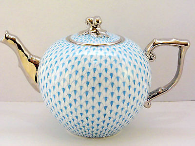 Herend Turquise Fishnet Teapot With Platinum,for Eight Cups,brand New Boxed