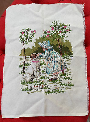 Completed X Cross Stitch Embroidery Girl Dog Glasses Flowers Garden Unframed