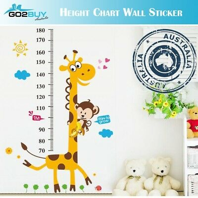 Wall Stickers Removable Giraffe Monkey Height Kids Nursery Decal Growth Chart
