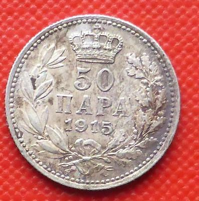 A 1915 Silver Fifty Para Coin From Serbia.