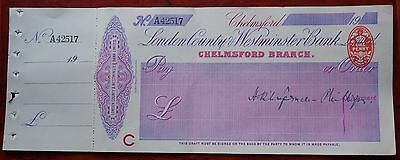 London County & Westminster Bank, Chelmsford, unused cheque dated 1914, signed