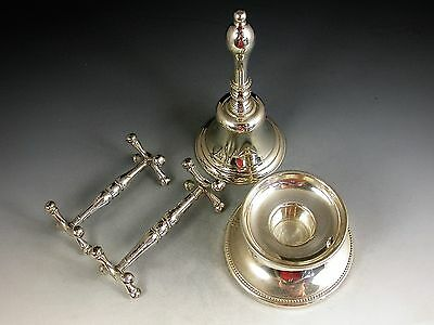 Silver Piano Candlestick With Plated Table Bell And Pair Knife Rests