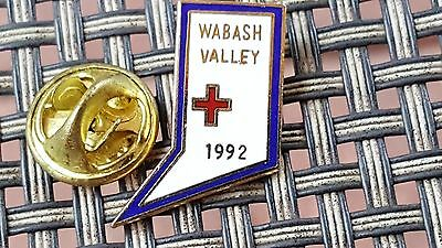 Wabash Valley Chapter of the American Red Cross.  This is a 1992 pinback.