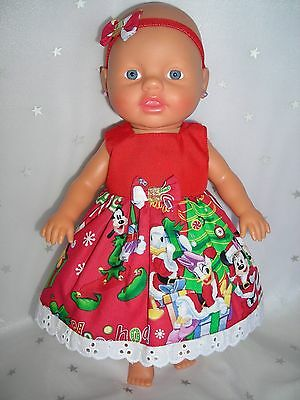 """Dolls clothes for 13"""" My Little Baby Born Doll~DISNEY CHRISTMAS DRESS~HAIRBOW"""