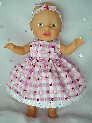 """Dolls clothes for 13"""" My Little Baby Born Doll~LADYBUGS & MUSHROOMS CHECK DRESS"""