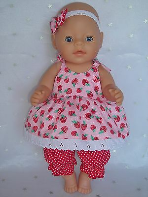 """Dolls clothes  for 17"""" Baby Born  doll~ STRAWBERRY STRAP DRESS & BLOOMERS SET"""
