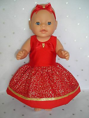 """Dolls clothes  for 17"""" Baby Born  doll~RED CHRISTMAS SWIRL JINGLE BELL DRESS SET"""