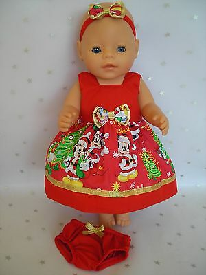 """Dolls clothes for 17"""" Baby Born doll~DISNEY~MINNIE MOUSE RED CHRISTMAS DRESS SET"""