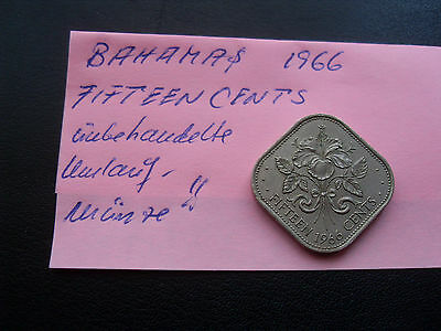BAHAMAS BAHAMA-ISLANDS = Fifteen (15) Cents 1966 - alte Münze , Umlaufmünze