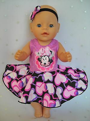 """Dolls clothes for 17"""" Baby Born doll~MINNIE MOUSE PURPLE HEART CIRCLE DRESS~HBOW"""