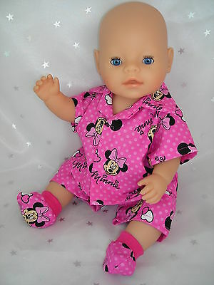 """Dolls clothes  for 17"""" Baby Born doll~MINNIE MOUSE PINK SUMMER PYJAMAS~BED SOCKS"""