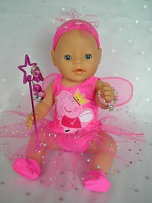 """Dolls clothes  for 17"""" Baby Born  doll~PEPPA PIG FAIRY WING DRESS~ACCESSORIES"""
