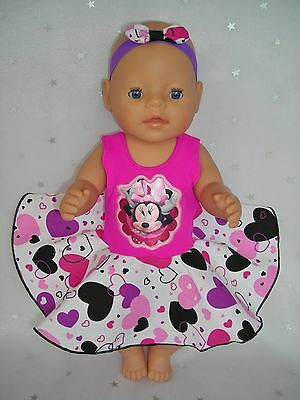 """Dolls clothes for17"""" Baby Born doll~MINNIE MOUSE PINK HEART CIRCLE DRESS~HAIRBOW"""