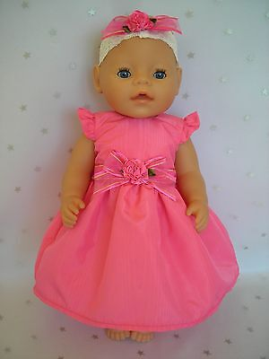"""Dolls clothes for 17"""" Baby Born doll~CANDY PINK TAFFETA FLOWER PARTY DRESS~H'BOW"""
