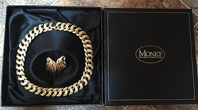 Stunning Monet Signed Necklace & Earrings Set Costume Jewellery Vintage 80's