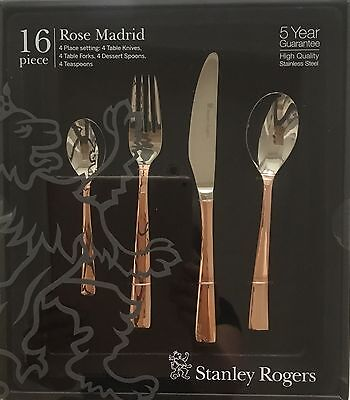 Rose Gold 16 Piece Cutlery Set Stanley Rogers Rose Madrid Knives Forks Spoons