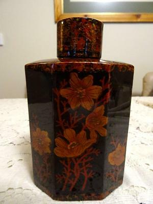 Vintage Japanese Lacquered Octagonal Wood Bark Tea Caddy
