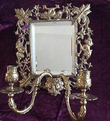 Antique, Victorian Gothic Brass wall Mirror With Candles Sconce