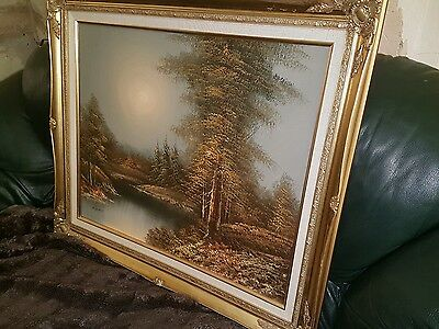 Vintage large oil painting on canvas in gold frame signed