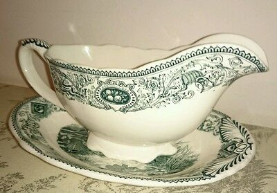 Masons game birds gravy boat and plate