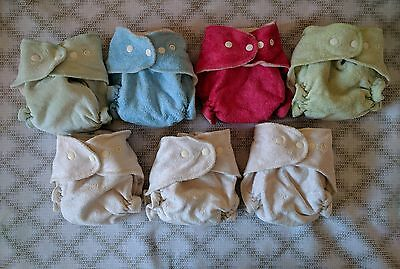 sustainable hemp products SHP lushies x 7 MCN bamboo cloth nappies EUC