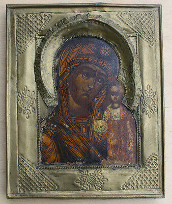Antique Russian Icon of Mother of God Kazanskaya,19th cent.,not restored